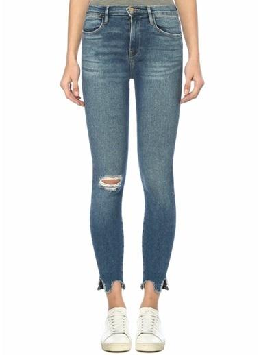 Frame Denim Yüksek Bel Yıpratmalı Skinny Jean Pantolon Mavi